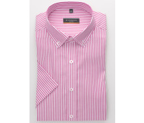 Kurzarm Hemd Slim FIT Oxford Pink/weiss Gestreift