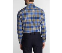 Langarm Hemd Modern FIT Popeline Blau/weiss Kariert