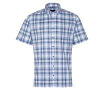 Kurzarm Hemd Modern FIT Melange Blau/weiss Kariert