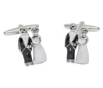 Manschettenknöpfe Silber/schwarz/weiß Unifarben