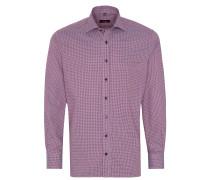 Langarm Hemd Modern FIT Twill Rot/weiss Kariert