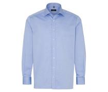 Langarm Hemd Comfort FIT Pinpoint Mittelblau Unifarben