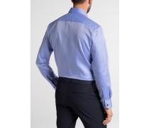 Langarm Hemd Modern FIT Fantasiebindung Blau Strukturiert
