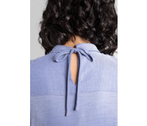 Langarm Bluse Modern Classic Flanell Blau Unifarben