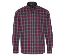 Langarm Hemd Modern FIT Flanell Weinrot/grau Kariert