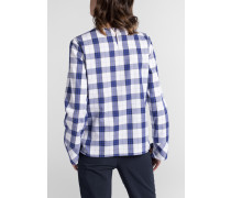 Langarm Bluse Modern Classic Flanell Blau/weiss Kariert