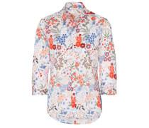 Dreiviertelarm Bluse Modern Classic Popeline Rot/blau Bedruckt