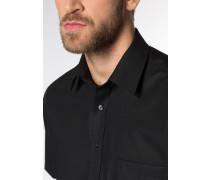 Kurzarm Hemd Comfort FIT Popeline Schwarz Unifarben