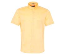 Kurzarm Hemd Slim FIT Leinen Gelb Unifarben