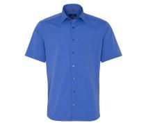 Kurzarm Hemd Modern FIT FIL À FIL Blau Unifarben