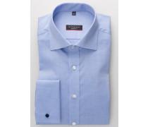 Langarm Hemd Modern FIT Pinpoint Mittelblau Unifarben