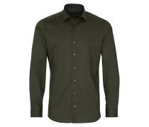 Langarm Hemd Slim FIT Stretch Olivgrün Unifarben