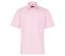 Kurzarm Hemd Modern FIT Bindungsaufleger Pink/weiss Gestreift