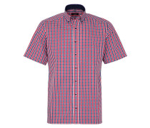 Kurzarm Hemd Modern FIT Popeline Rot/blau Kariert