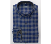 Langarm Hemd Modern FIT Flanell Blau/grau Kariert