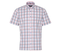 Kurzarm Hemd Modern FIT Melange Grau/blau/rot Kariert