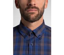 Langarm Hemd Comfort FIT Flanell Blau/schwarz Kariert