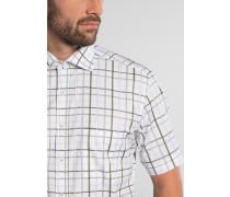 Kurzarm Hemd Modern FIT Bindungsaufleger Olivgrün/weiss Kariert