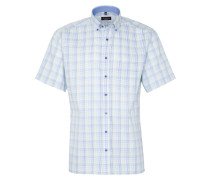 Kurzarm Hemd Modern FIT Twill Lindgrün/blau Kariert