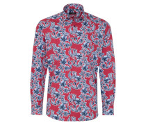 Langarm Hemd Modern FIT Popeline ROT Bedruckt