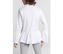 Langarm Bluse 1863 BY - Premium Stretch Weiss Unifarben
