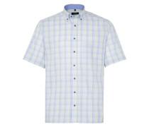 Kurzarm Hemd Comfort FIT Twill Lindgrün/blau Kariert