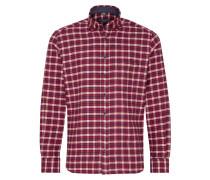 Langarm Hemd Modern FIT Flanell Rot/beige Kariert