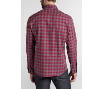 Langarm Hemd Modern FIT Flanell Rot/grau Kariert