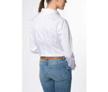 Langarm Bluse Modern Classic Stretch Weiss Unifarben