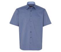 Kurzarm Hemd Modern FIT Panamabindung Jeansblau Strukturiert