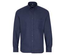 Langarm Hemd Modern FIT Flanell Nachtblau/grau Unifarben