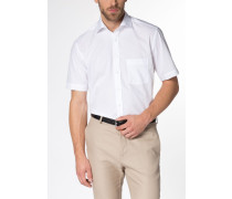 Kurzarm Hemd Modern FIT Popeline Weiss Unifarben