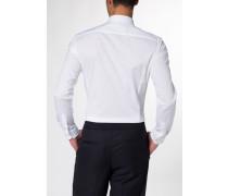 Langarm Hemd Super-Slim Stretch Weiss Unifarben