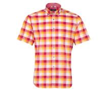 Kurzarm Hemd Modern FIT Leinen Rot/gelb Kariert