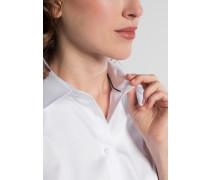 Halbarm Bluse Modern Classic Stretch Weiss Unifarben