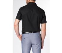 Kurzarm Hemd Modern FIT Popeline Schwarz Unifarben