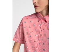 Kurzarm Bluse Modern Classic Mandarinrot/weiss Bedruckt