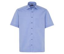 Kurzarm Hemd Comfort FIT Chambray Blau Unifarben