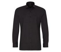 Langarm Hemd Slim FIT Stretch Schwarz Strukturiert
