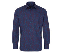 Langarm Hemd Modern FIT Popeline Blau Bedruckt