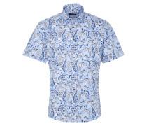 Kurzarm Hemd Modern FIT Popeline Hellblau/weiß/taupe Bedruckt