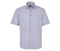 Kurzarm Hemd Modern FIT Popeline Blau/melone Bedruckt