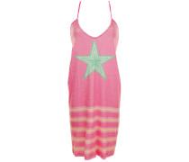 Kleid mit Pailletten und Streifenmuster in Fushia-Grün
