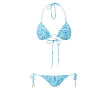 Miami Padded Triangel Bikini blue leaf