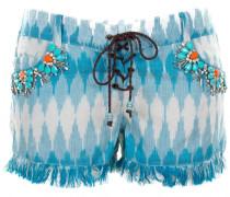 Shorts aus Baumwolle mit Blumen-Stickerei Orange auf blau-weiß-grauem Zackenp...