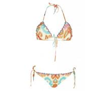Ikat Padded Triangel Bikini in beige