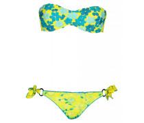 Padded Bandeau Bikini mit Blütenstickerei