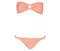 Padded Bandeau Bikini mit Perlendetails