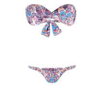 Martinique Padded Bandeau Bikini mit Feder-Print