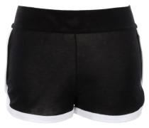 Shorts aus hochwertiger Baumwolle in Schwarz mit weißen Bündchen am Bein